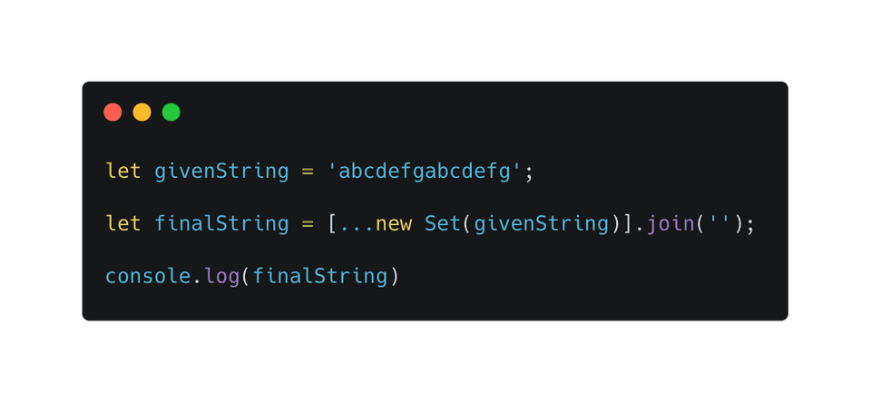 Javascript get unique characters from string using Set