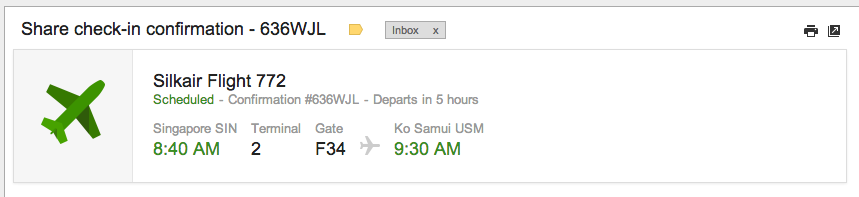 flight info in gmail