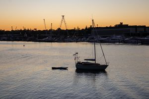 Sunset over Glebe foreshore with beautiful yellow tinge in the sky