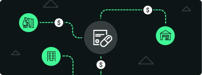 Schématisation représentant l'augmentation des revenus d'une pharmacie lorsqu'elle utilise les casiers intelligents