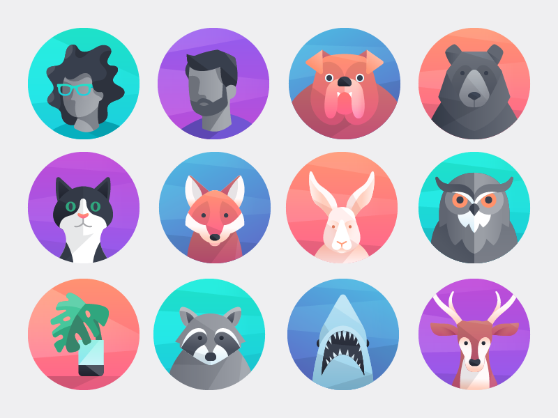 Example of different avatars