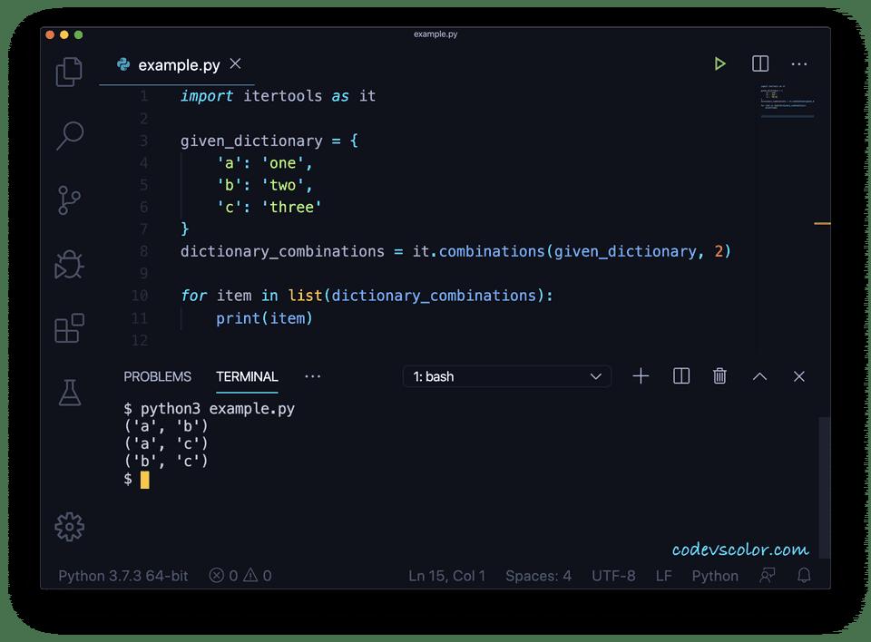 Python dictionary combinations