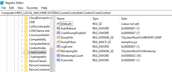 Crash dump Registry config