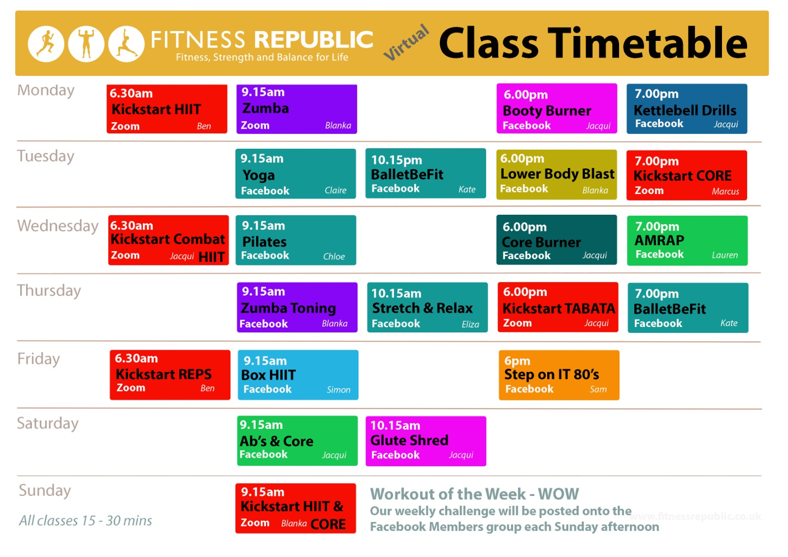 Our current class timetable