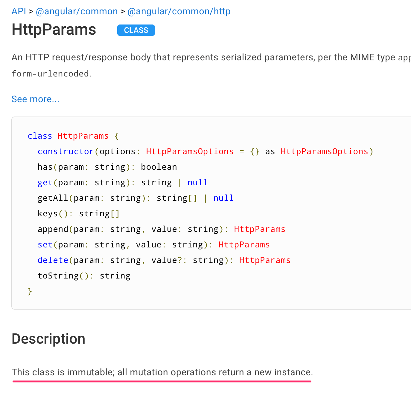 API documentation page for HttpParams