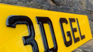 A 3D gel number plate