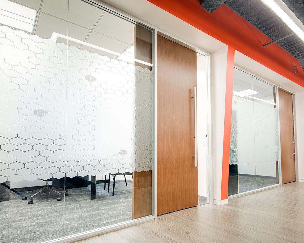 Hallway with Decorative Glass Walls