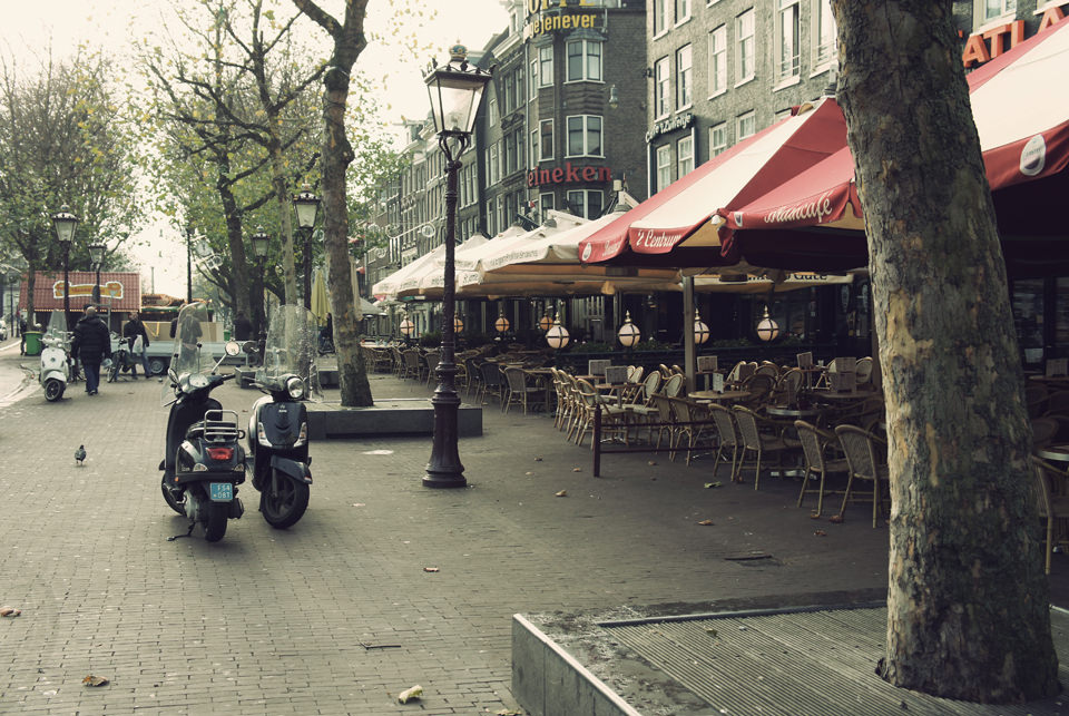 Quiet cafes along the street