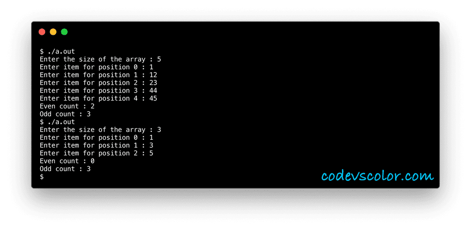 c even odd number count in array example