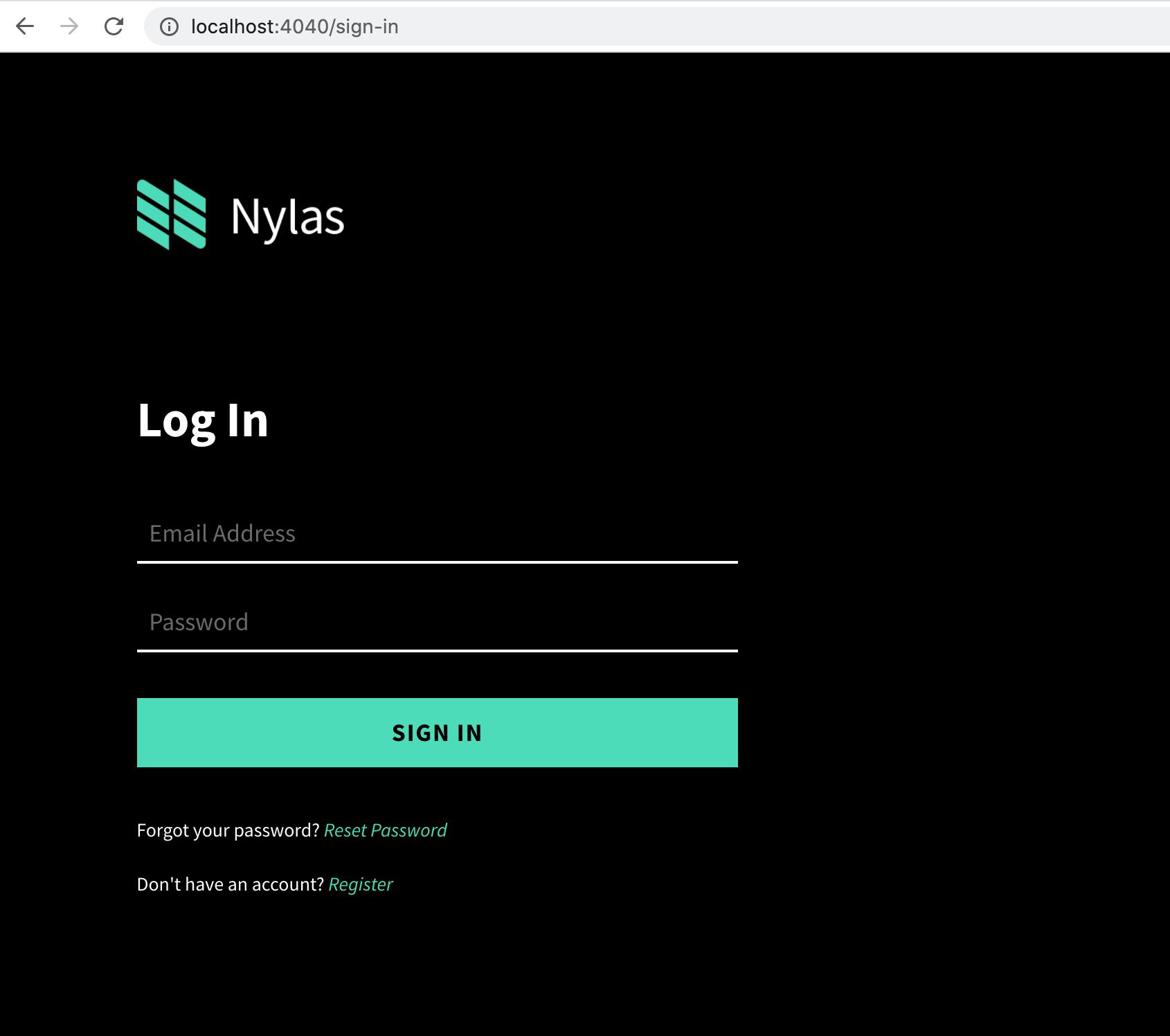 Log into Nylas Dashboard