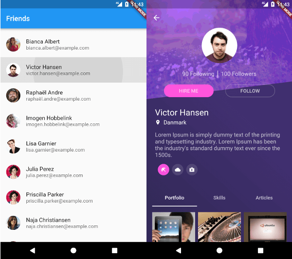 The sample app, consisting of friend listing and a friend details page.