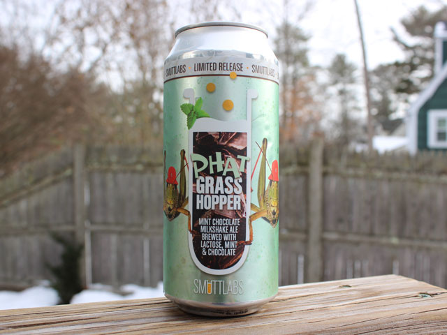 Phat Grasshopper, a Mint Chocolate Milkshake IPA brewed by Smuttynose Brewing Company
