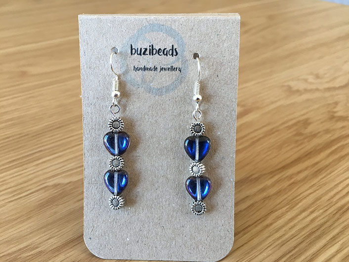Blue and Silver heart earrings