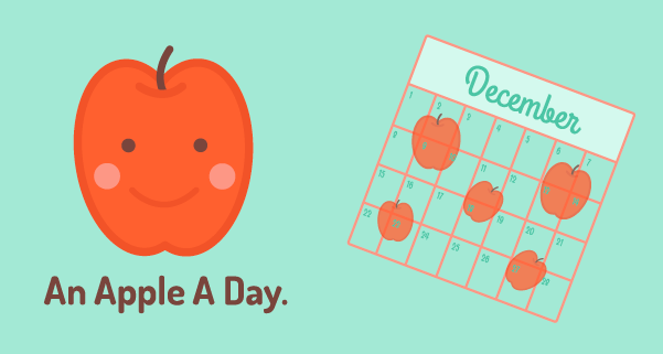 An apple a day graphic