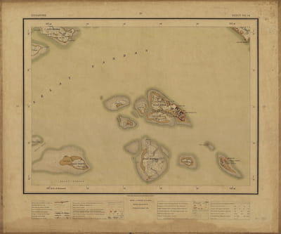 A brown map of several islands.