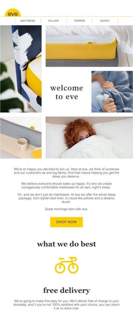 Eve sleep offer email