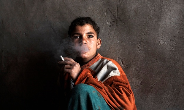 Ali Andak, a 15-year-old worker at a brick factory in the suburb of Helwan, Cairo. Photograph: Jason Larkin/AP
