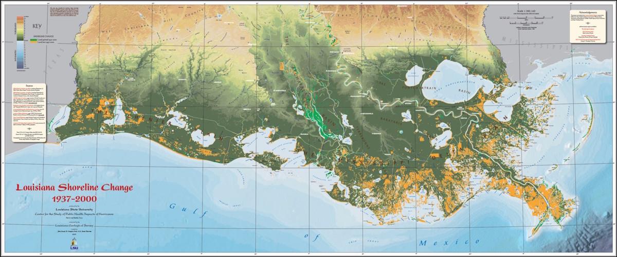 Louisiana's moving edges