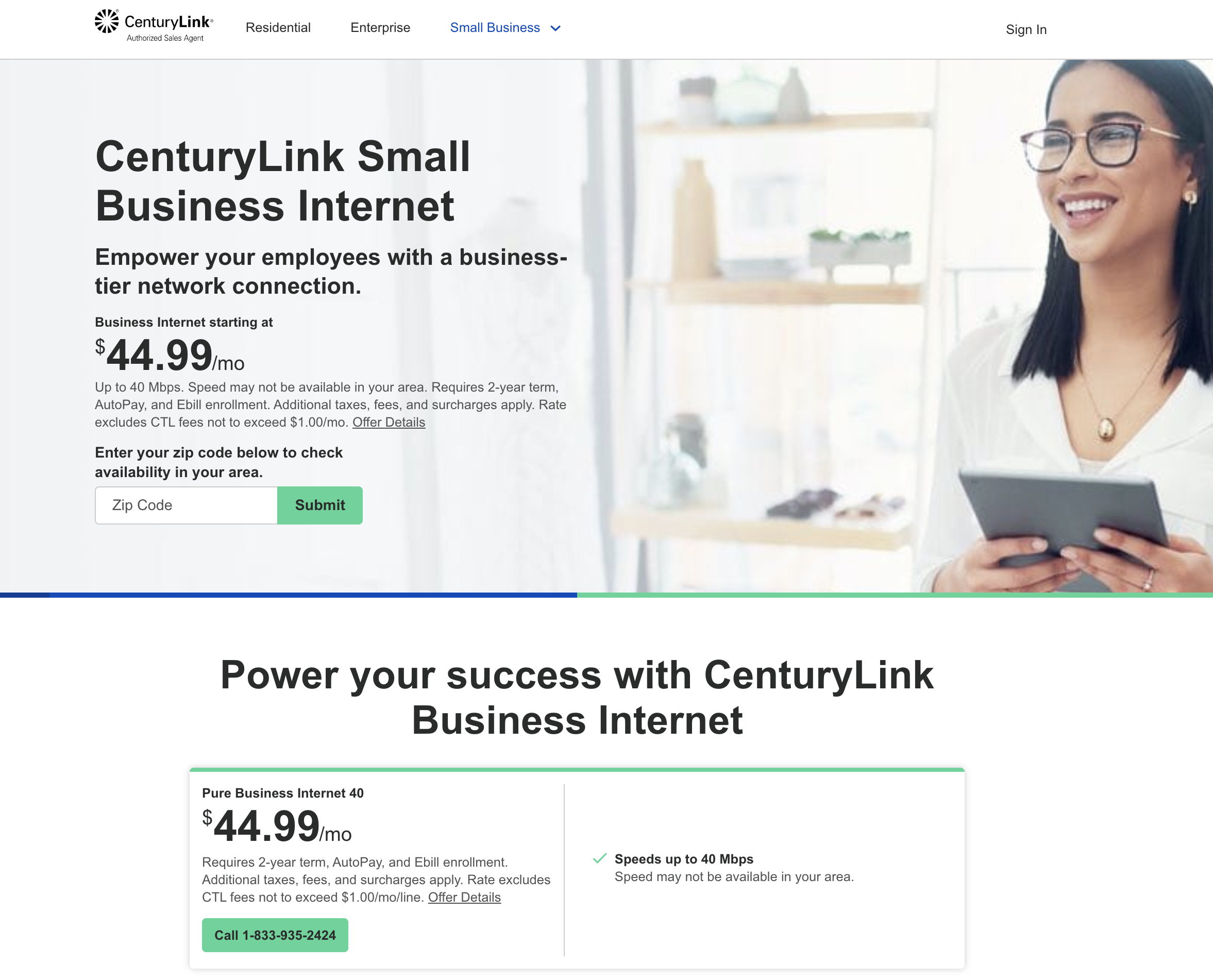 Screenshot of CenturyLink Small Business Site