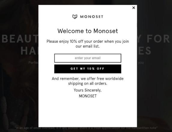 Monoset Welcome popup