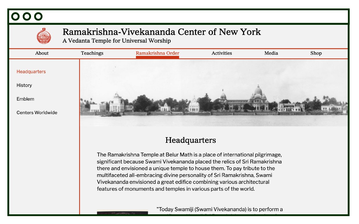 desktop layout of internal text page, Headquarters