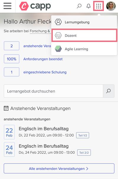 Screenshot Dozent Start