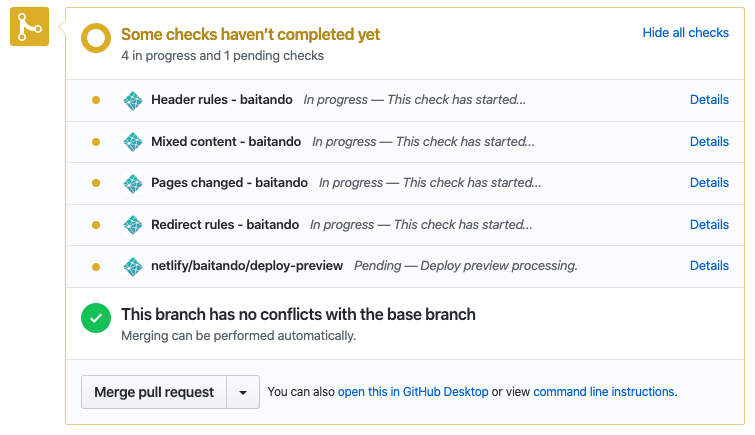 Ongoing Netlify Pull Request Checks on GitHub