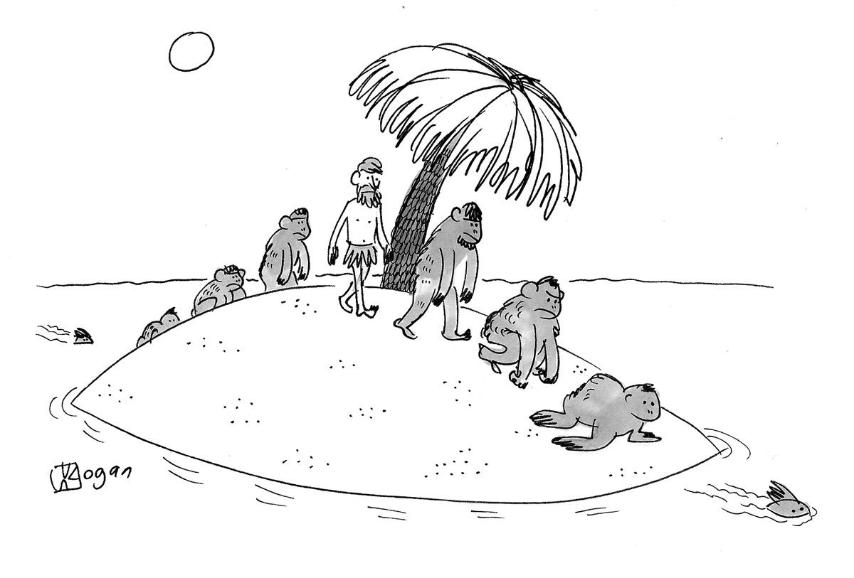 (Evolution and devolution on a desert island.)