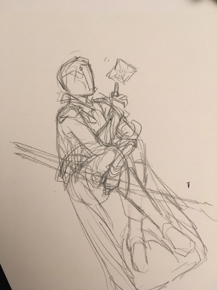 Pencil sketch, sitting and holding a big bow.