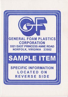 General Foam Plastics Sample Item Tag preview
