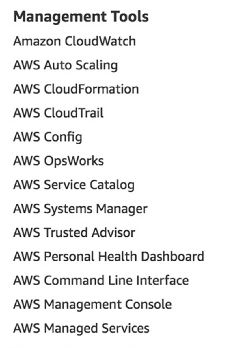 Management services as listed on aws.amazon.com