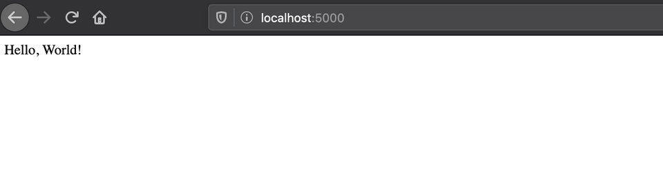 """Our simple webpage displaying """"hello world"""""""
