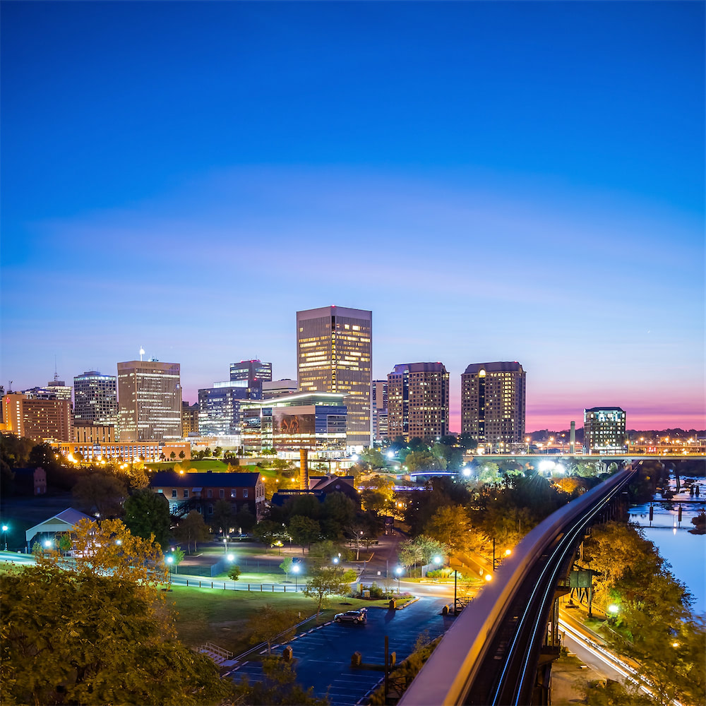 A wide landscape photo of Downtown Richmond shown from the south side.