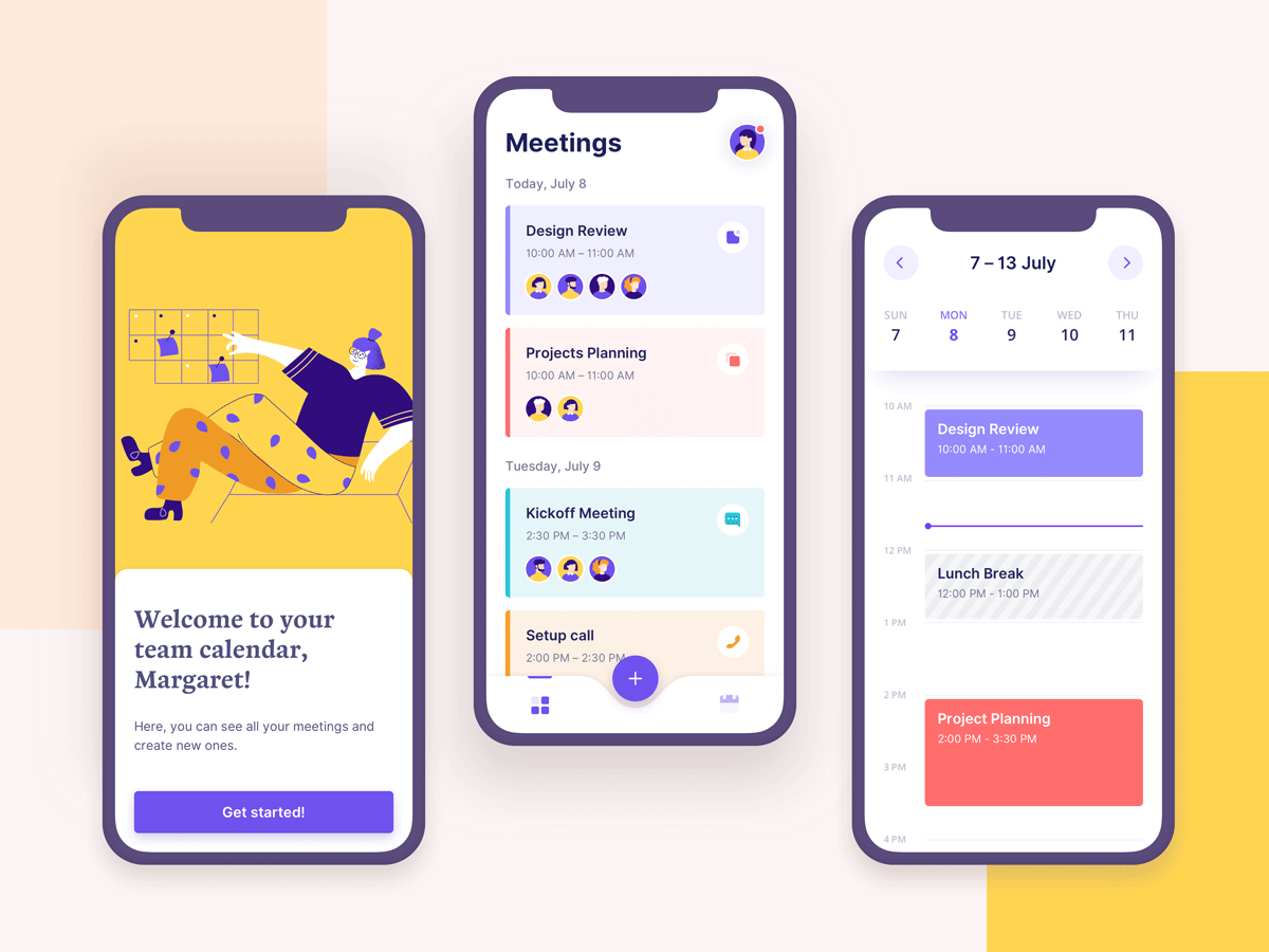Three mobile screens of a scheduling app designed by Valerya Nasikan