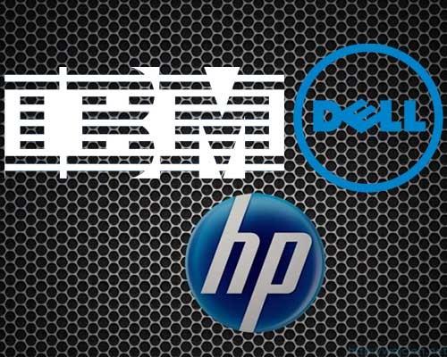 HP, Dell, IBM logos