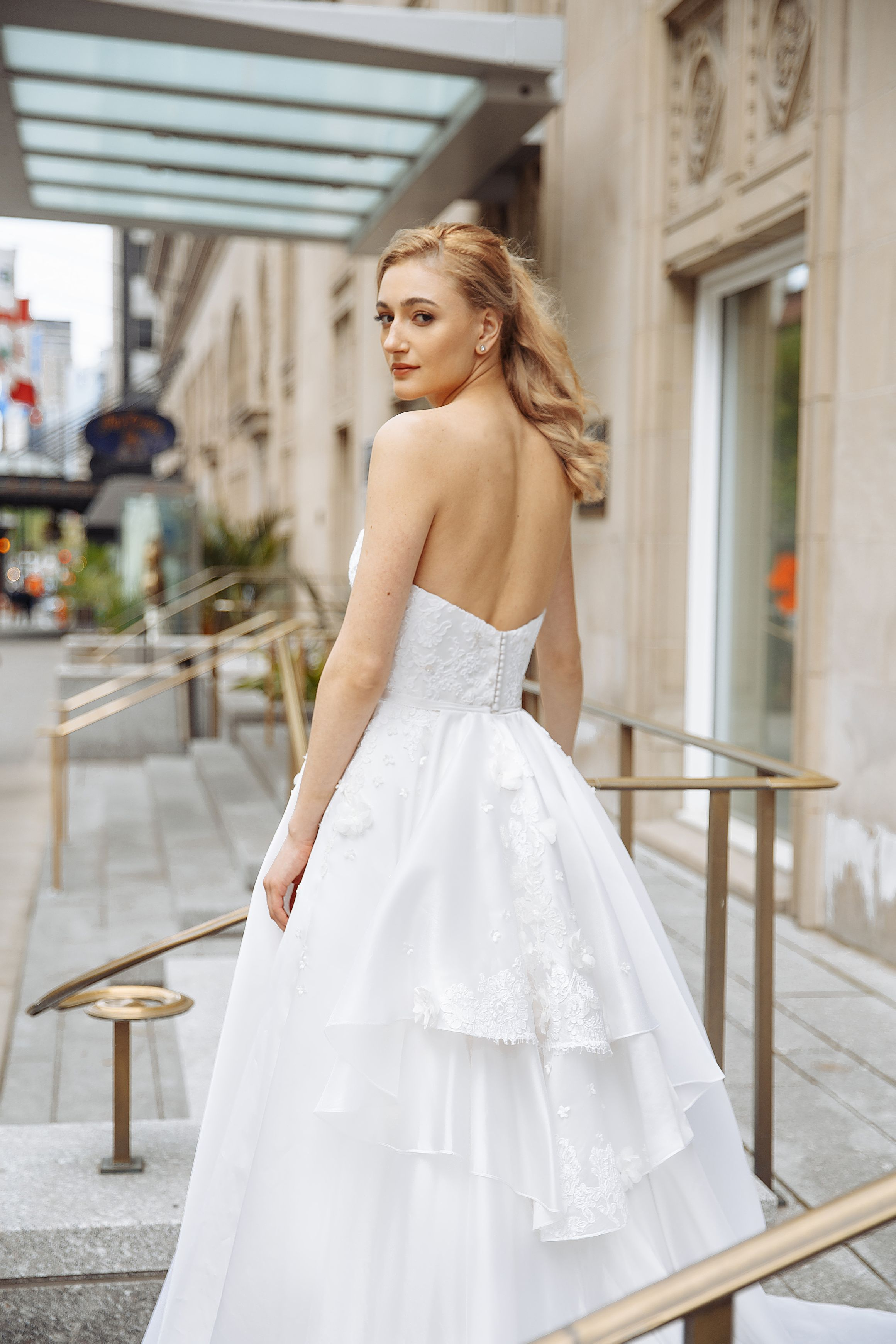 silk ball gown wedding dress lilia haute couture montreal