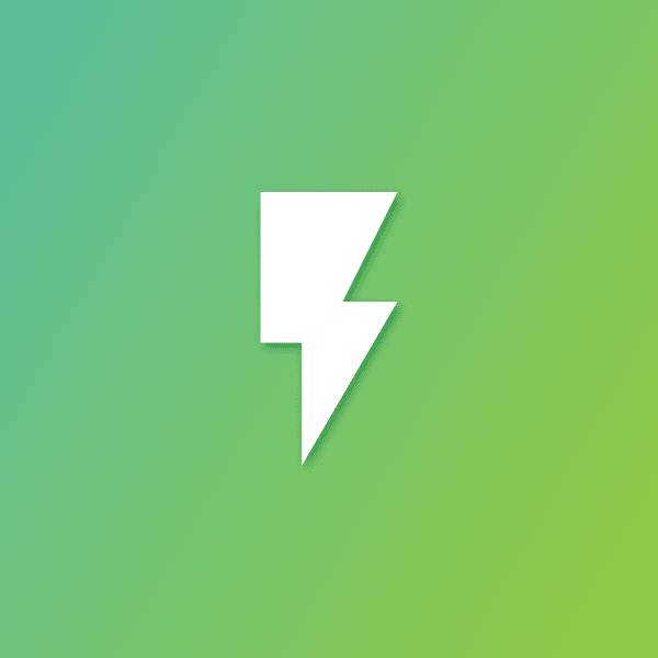 Lightning symbol on green background