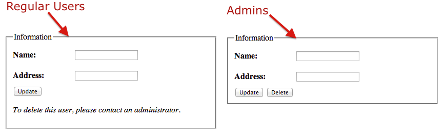 Display of the admin and regular user modes of a form