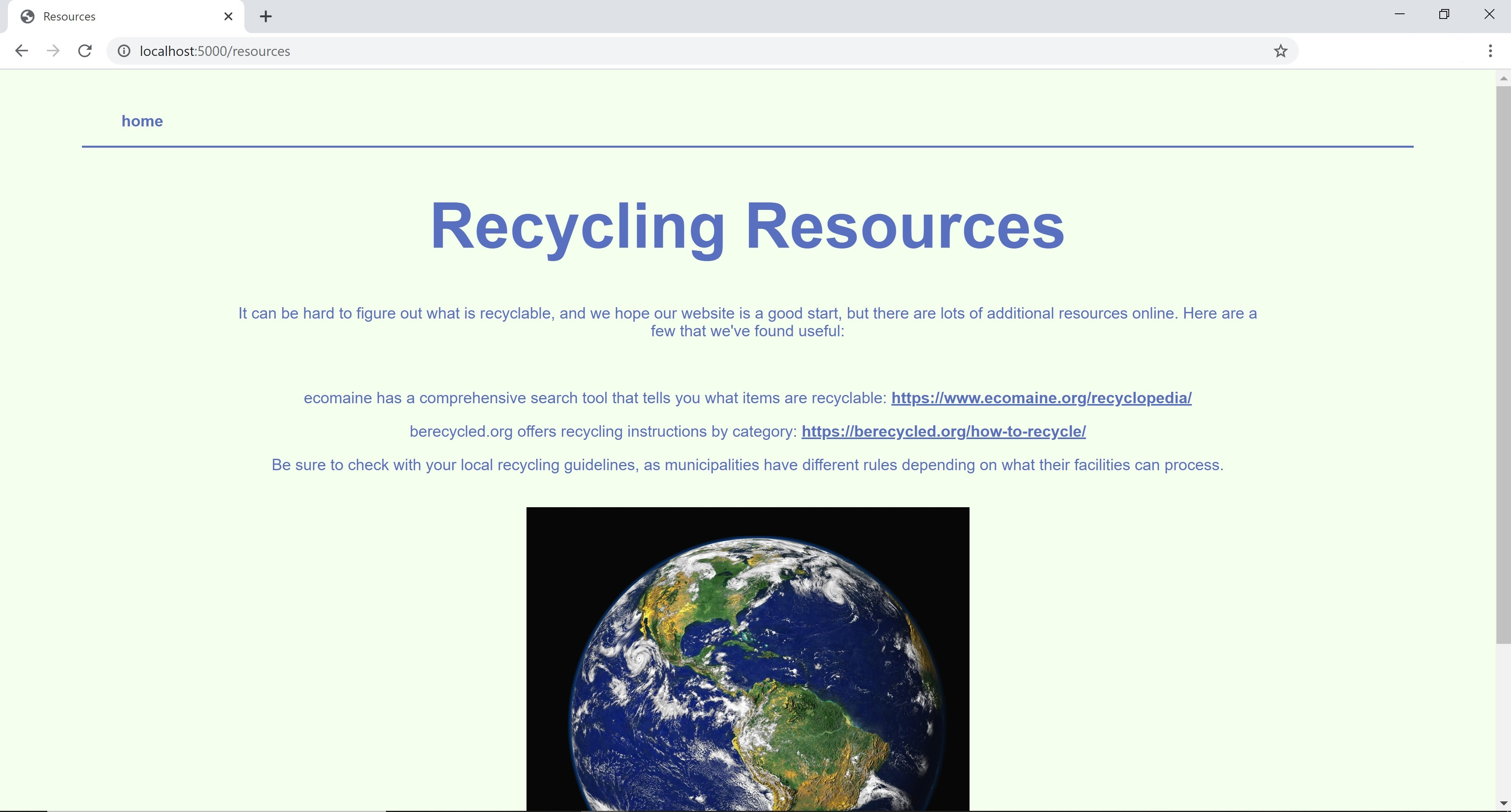 screenshot of Resources page of the site, with additional links to recycling information