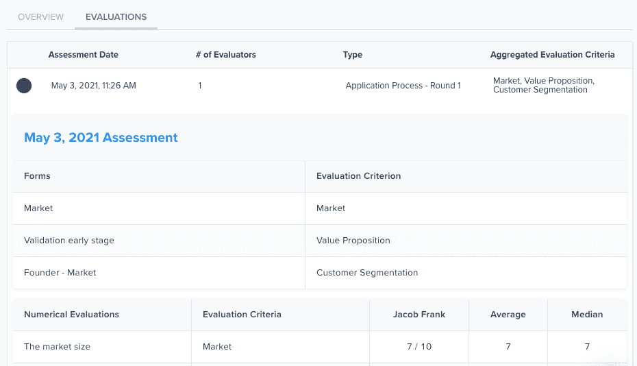 Assessment evaluations tab