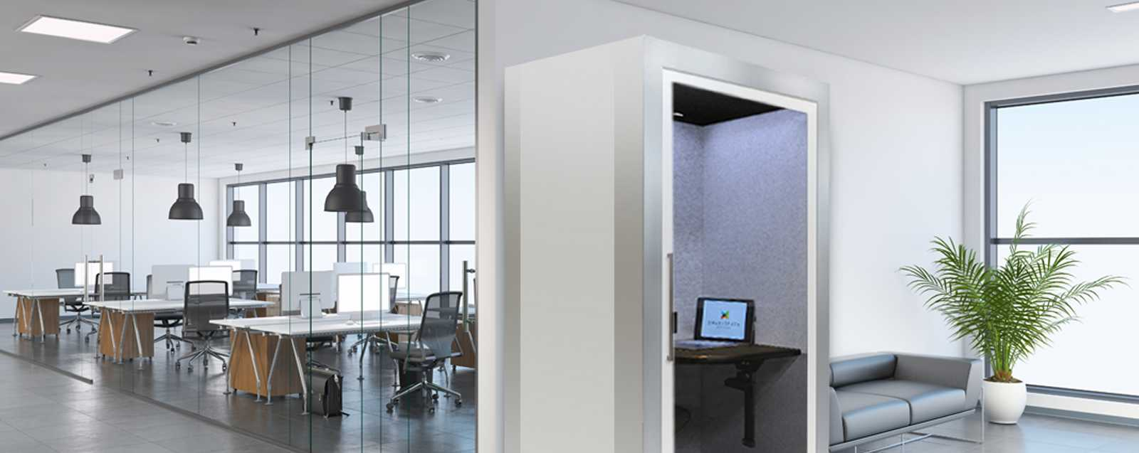 Emagispace Privacy Pod in an open office setting next to a conference room
