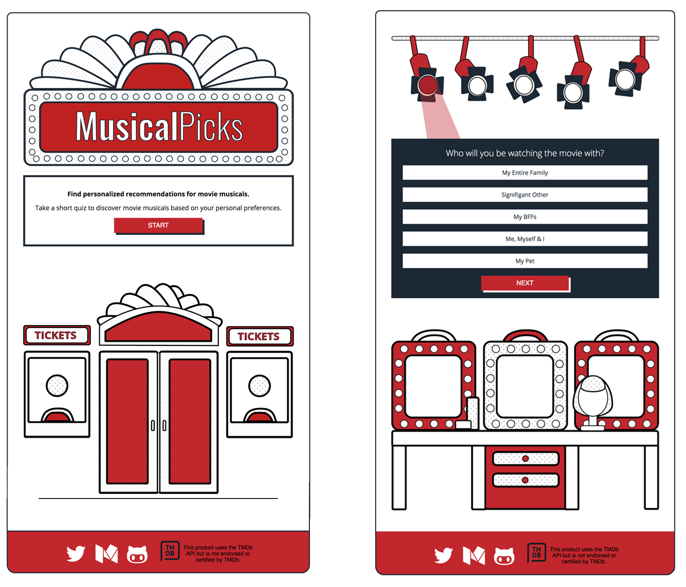 screenshots of musicalpicks home and question pages