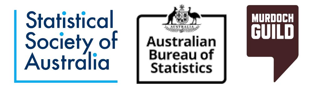 Sponsor logos: Statistical Soceity of Australia, Australian Bureau of Statistics, Mudoch Guild