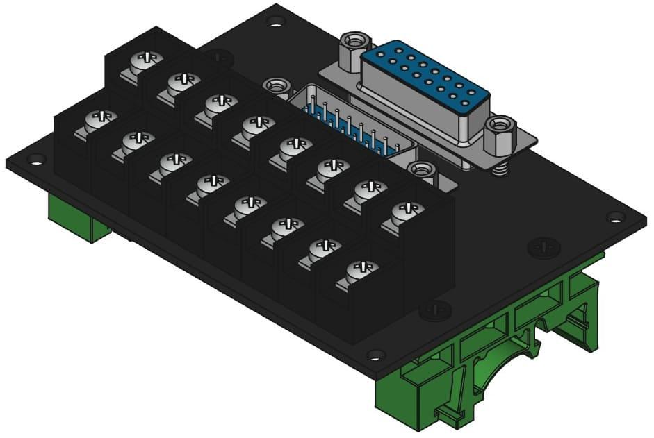 DA15MF-TB2X8をDINレール取付けする際の組立完成図