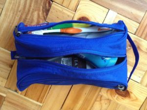 Eagle Creek Pack-It Quick Trip Toiletry Organizer closeup shot with toiletries inside