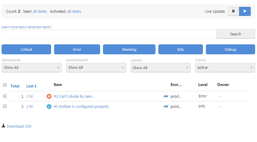 Screenshot of Rollbar .Net error item