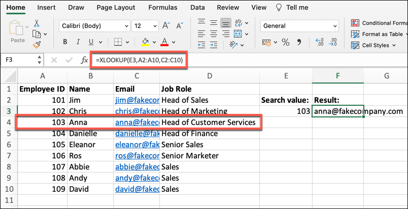 An Excel spreadsheet containing four columns of data: Employee ID, Name, Email, and Job Role. In this example, the XLOOKUP function has been used to locate a particular employee within the data.