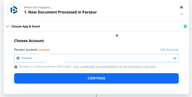 Choose Parseur account