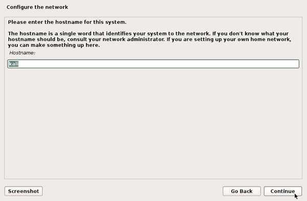 configuring network hostname kali install