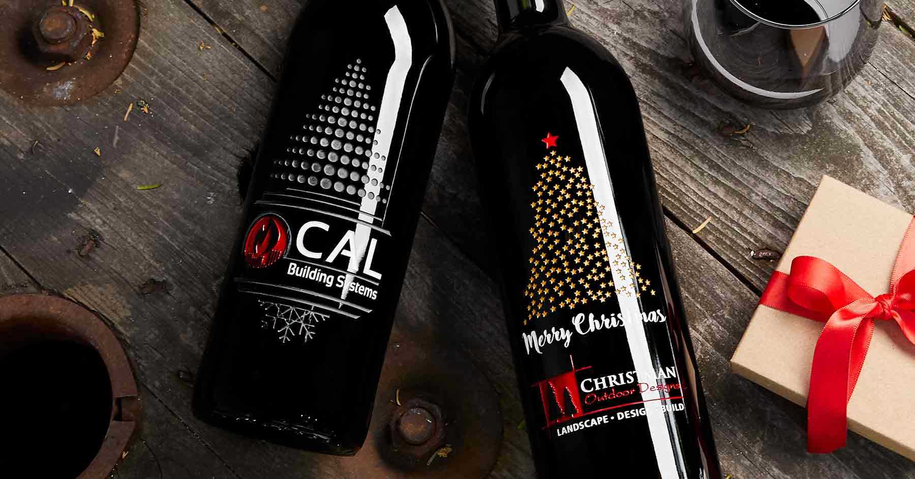 Custom Company Holiday Wine Gifts with logos by Etching Expressions